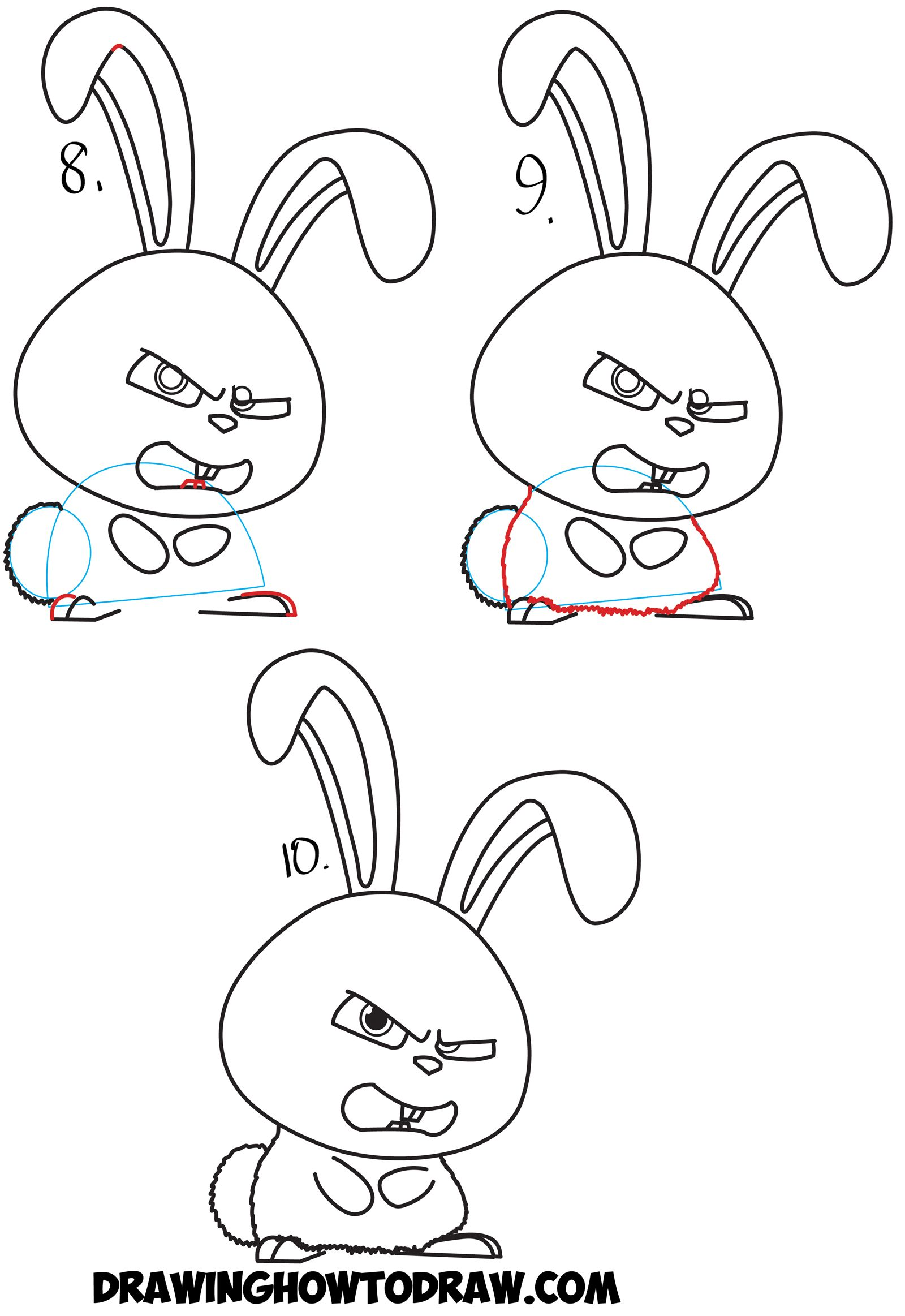 How to Draw Snowball the Bunny Rabbit from The Secret Life of Pets ...