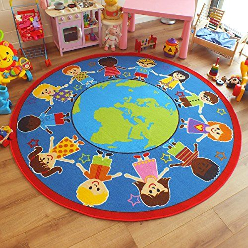 Superb Bright Kids Childs Rug Children Of The World Globe Large Round 2 0m X 6 Rox Good Company