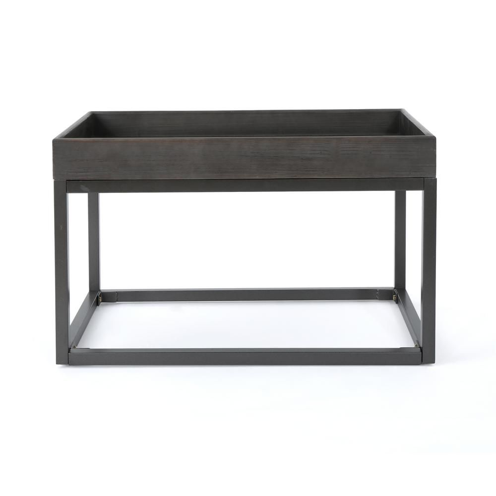 - Noble House Homer Gray Faux Wood Coffee Table With Black Iron