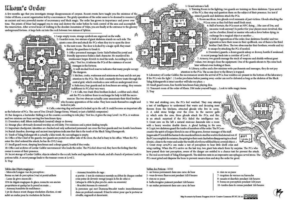 One Page Dungeon L Ordre De Khem Dungeon Maps Fantasy Map Tabletop Rpg Maps