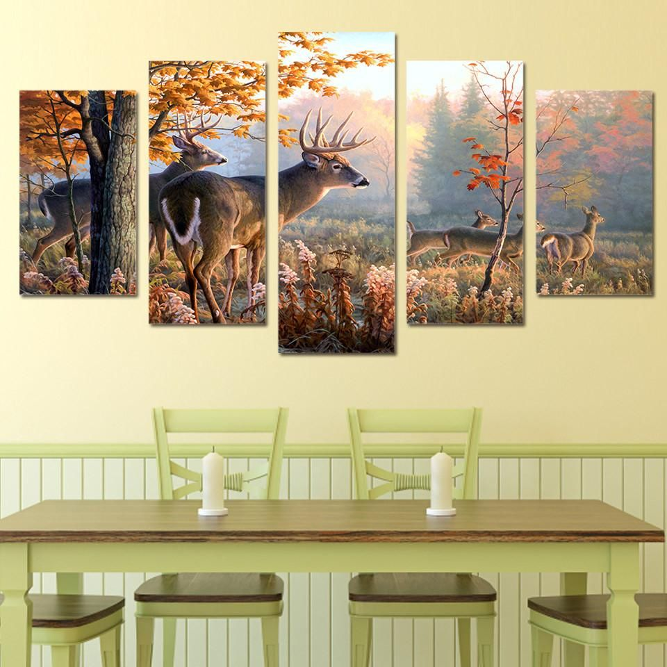 Deer in forest Picture 5 piece canvas wall art picture | Wall art ...