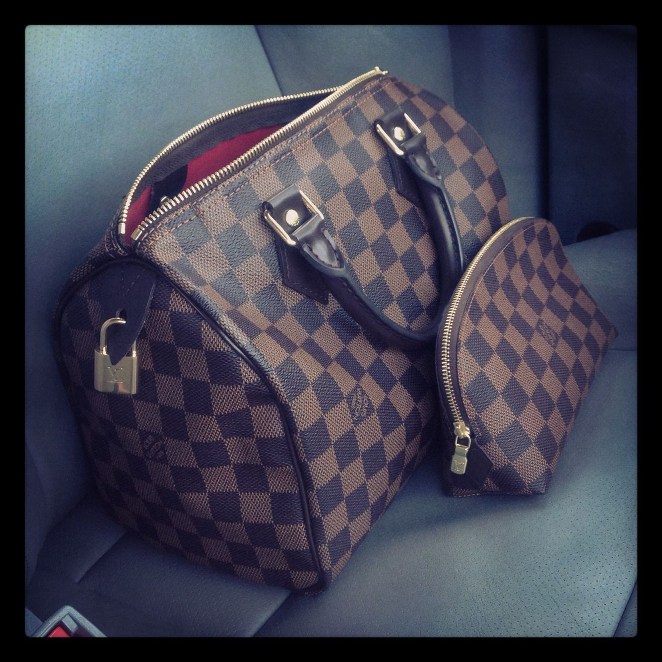 c08b41337915 Louis Vuitton Speedy 30 in Damier Ebene   cosmetic pouch pm. I want these!!