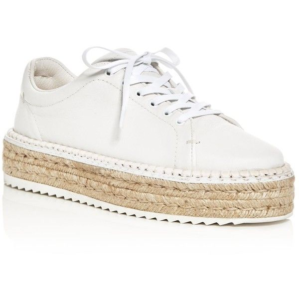 rag & bone Women's Kent Leather Platform Espadrille Sneakers (325 AUD) ❤ liked on Polyvore featuring shoes, sneakers, white, espadrille shoes, white trainers, platform shoes, platform sneakers and white espadrilles