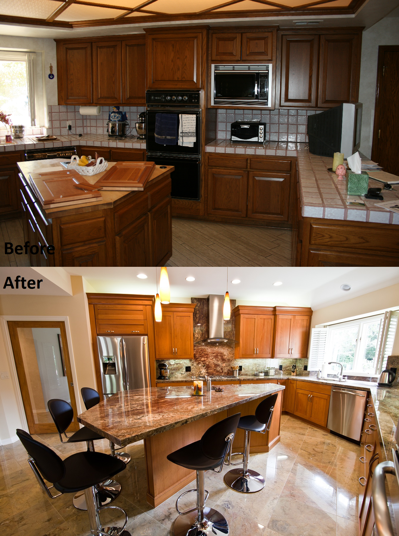 Before & After Kitchen remodel done by Kitchens Etc of Ventura