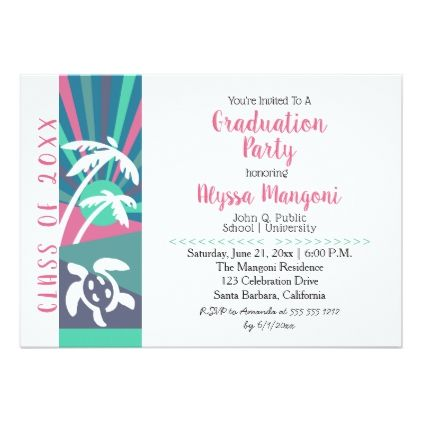 Retro beach sunset graduation party card graduation party retro beach sunset graduation party card graduation party invitations cards custom invitation card design party stopboris Choice Image