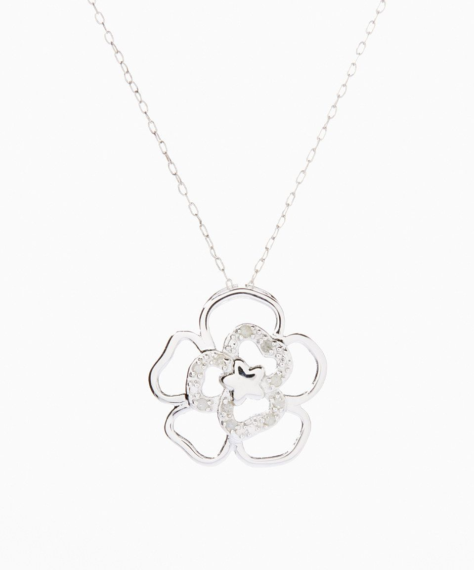 Look what I found on #zulily! Diamond Flower Pendant Necklace by Marsala #zulilyfinds