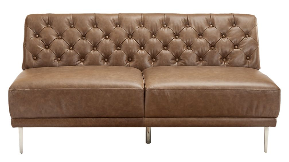 Peachy Savile Dark Saddle Leather Tufted Armless Sofa Misc Download Free Architecture Designs Scobabritishbridgeorg