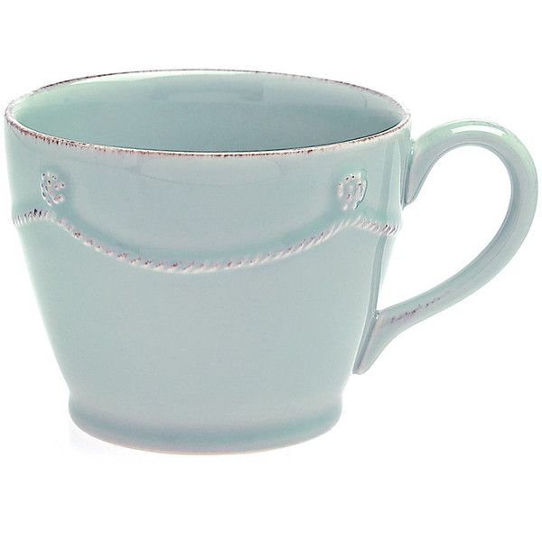 Juliska Ice Blue Berry and Thread Tea/Coffee Cup - 7.5x10cm ($26) ❤ liked on Polyvore featuring home, kitchen & dining, drinkware, food, drinks, fillers, blue, tea cups, coffee tea cups and juliska