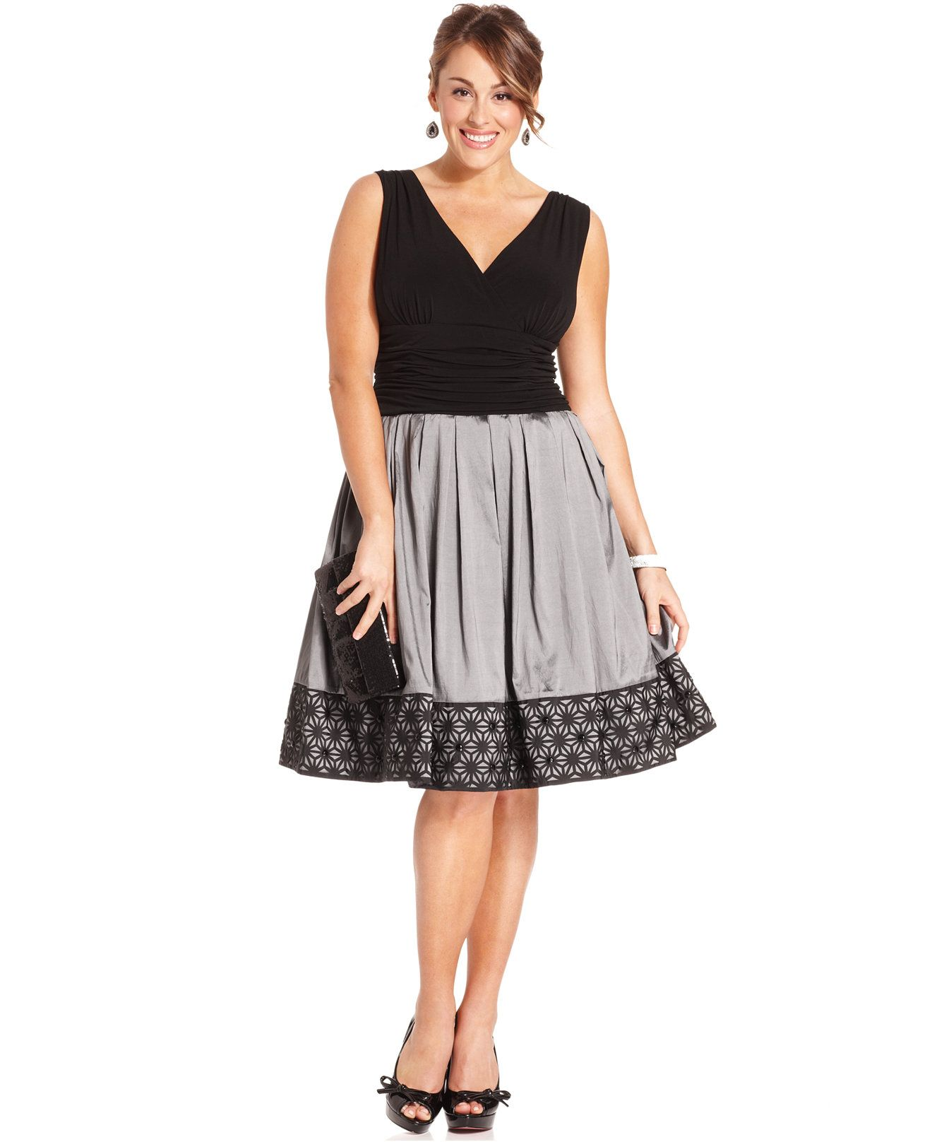SL Fashions Plus Size Dress, Sleeveless A-Line Ruched ...