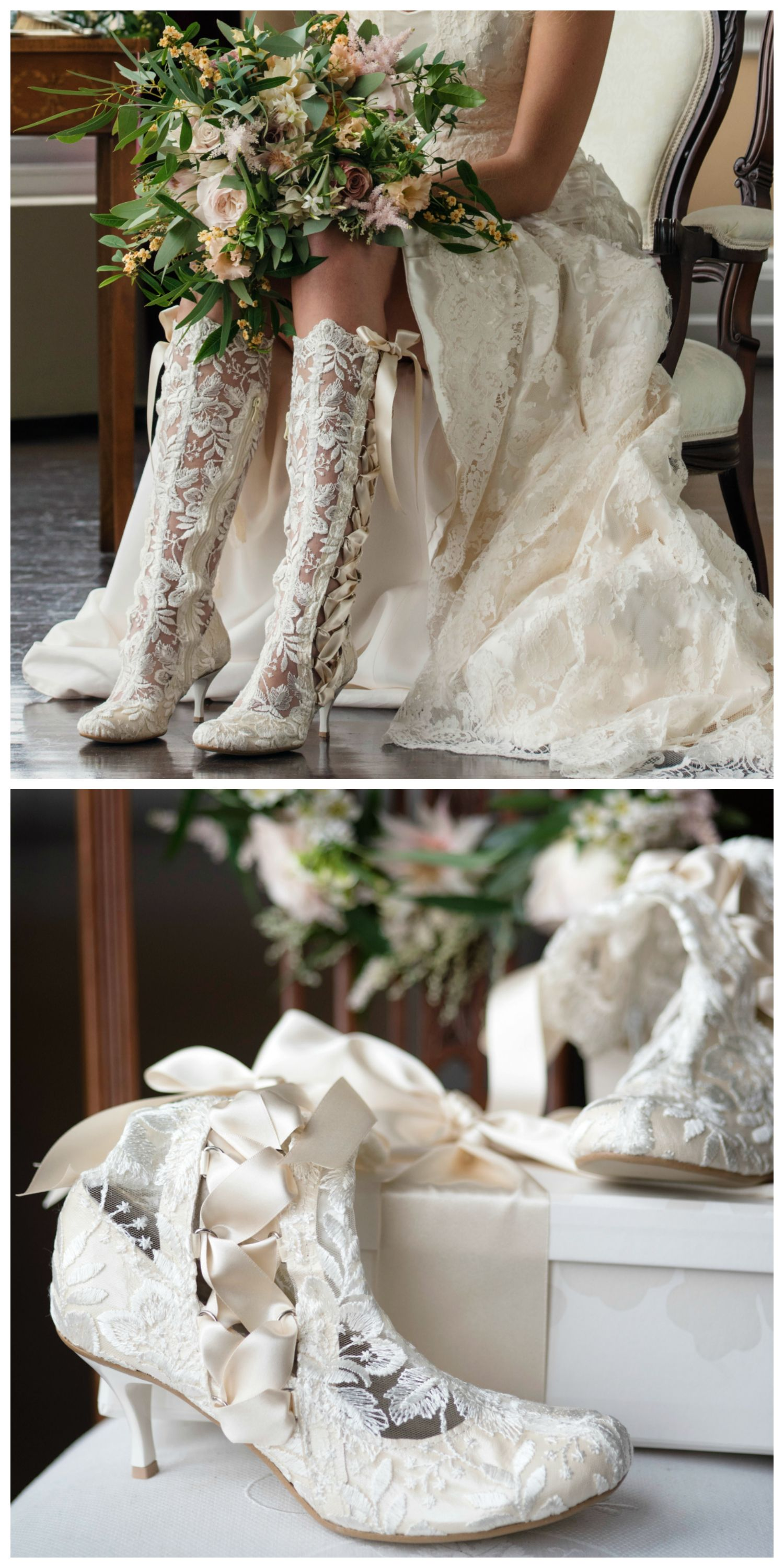Lace Wedding Boots And Bridal Shoes