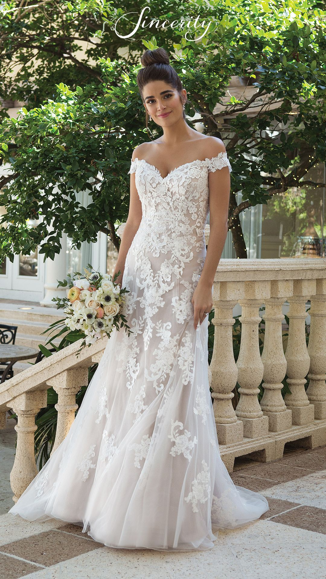 Embroidered lace wedding dress  Style  Off the Shoulder ALine Gown with Embroidered Lace