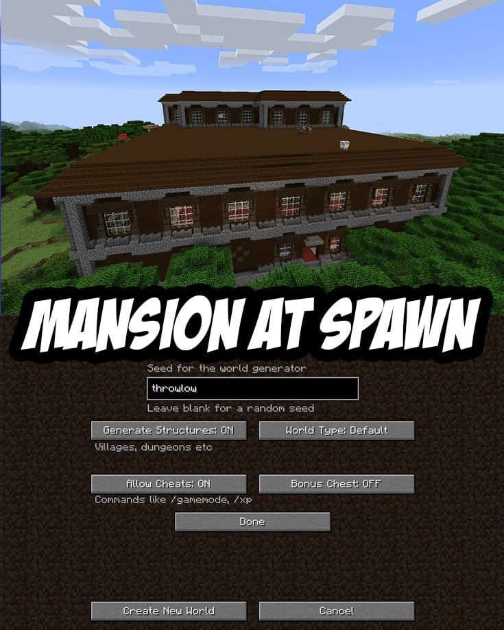Woodland Mansion Spawn Seed Pc Mac Throwlow Minecraft Blueprints Amazing Minecraft Minecraft Crafts