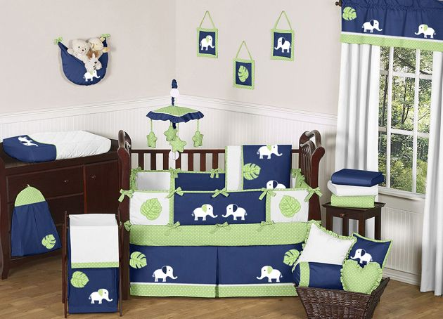 Baby Boy Elephant Nursery Navy Blue Lime Green White Bedding Crib Set