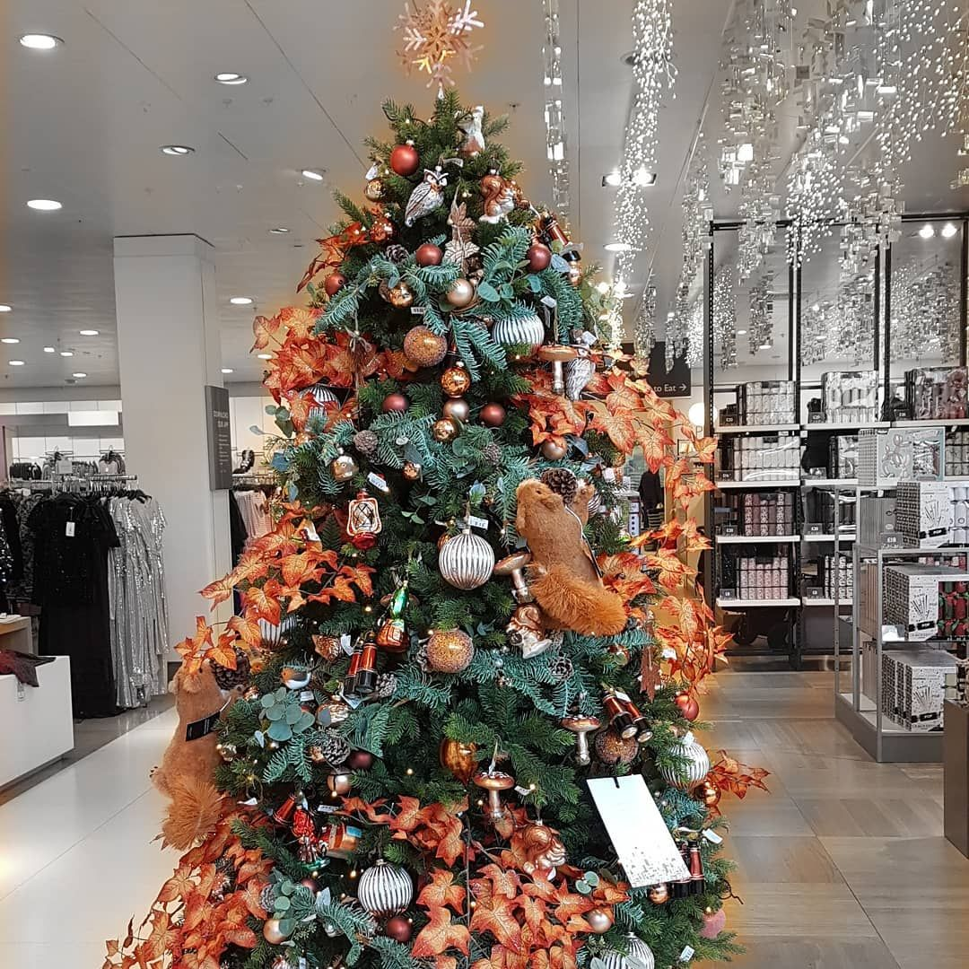 Loving The Autumnal Theme On This Tree Johnlewisandpartners Liverpool Christmasdecor Wi Christmas Tree Shop Christmas Tree Decorations Christmas Lights