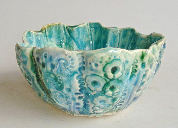 Turquoise Decorative Bowl Ceramic Bowl Decorative Bowl Lace Bowl Cerulean Bowl Turquoise
