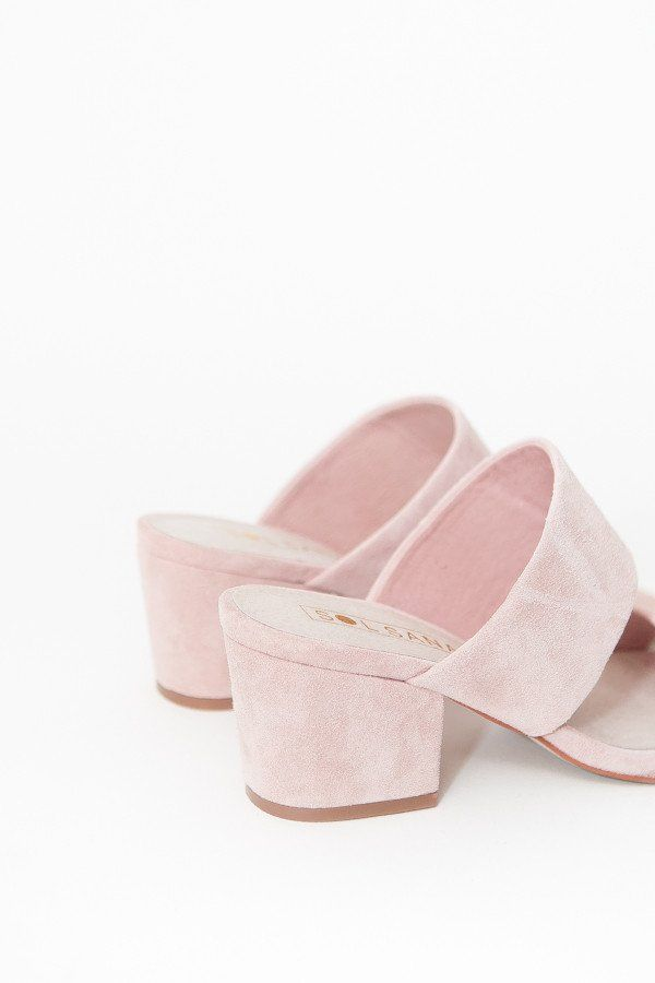 The Sol Sana Tina Mule is a brushed pink suede slip on mule with two straps and blocked heel. Fits true to size 2.5