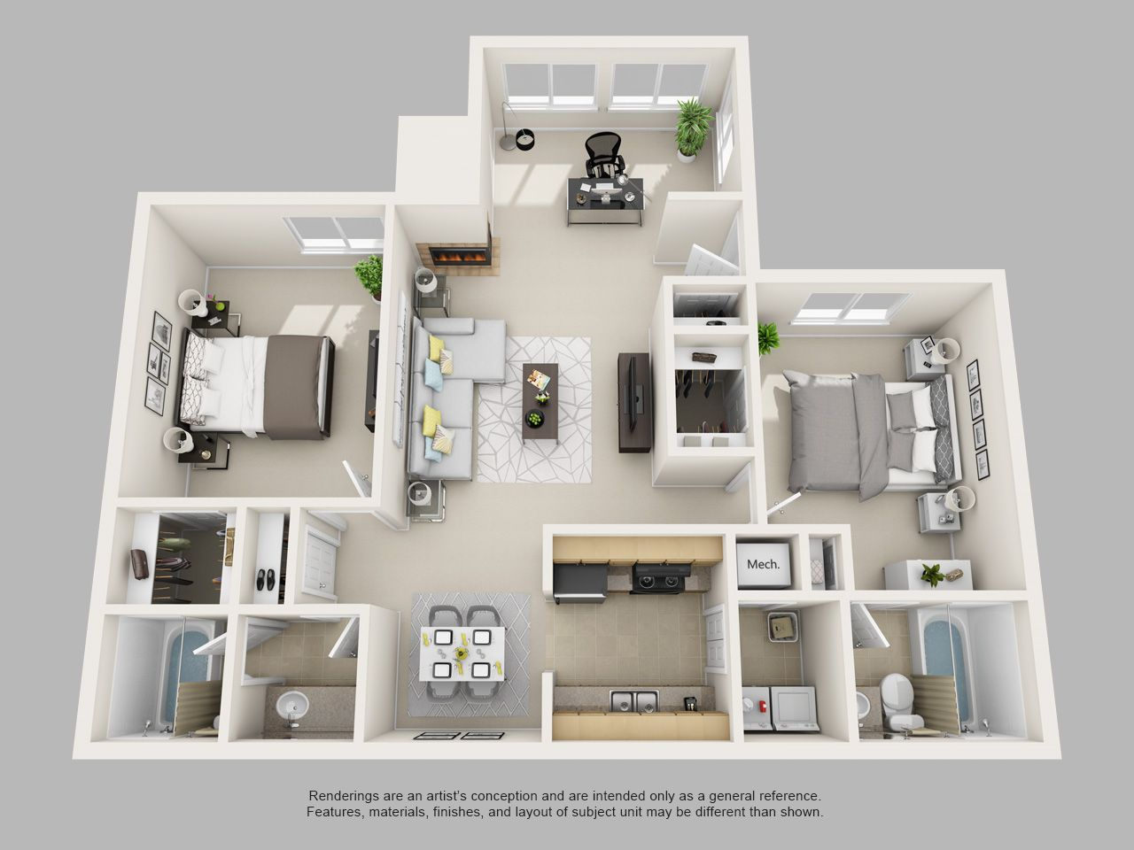 Park on clairmont 2bed 2bath 3d for 1280 960 for 3d bedroom plan