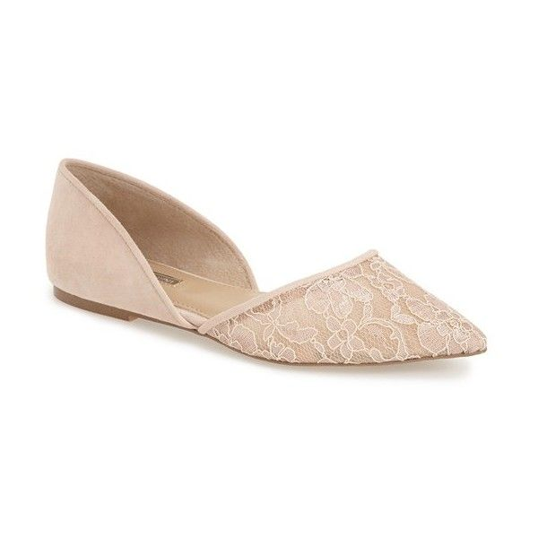 BCBGeneration 'Peggie' Pointy Toe Flat (360 BRL) ❤ liked on Polyvore featuring shoes, flats, nude blush leather, leather flats, flat shoes, nude shoes, nude flat shoes and d'orsay flats