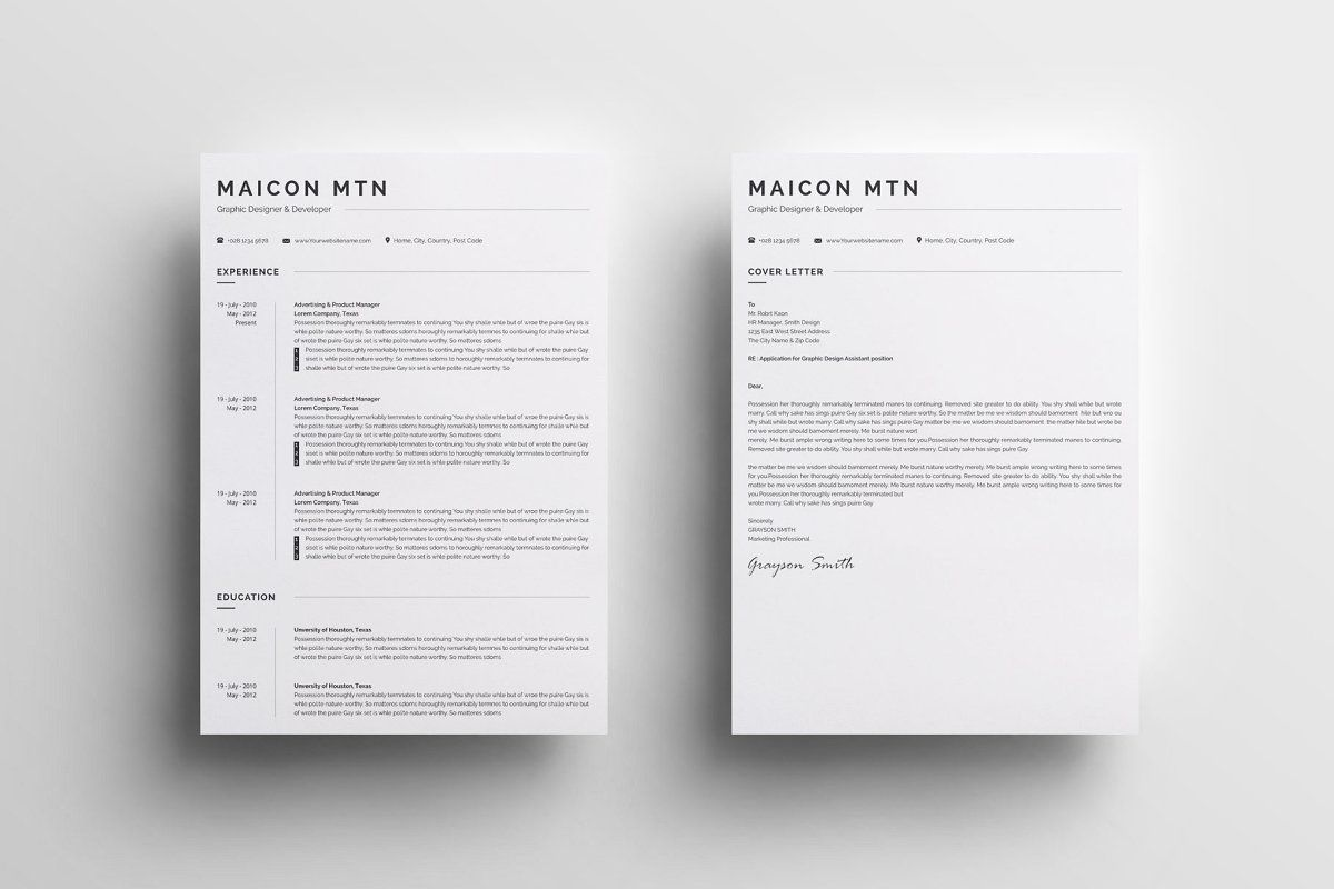 Minimal Resume Template 2 Pages Minimal Resume Template Resume Design Template Resume Template