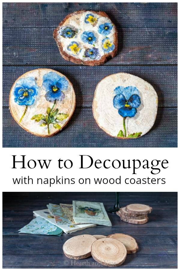 Handcrafted Decoupaged Wood Slice Coasters