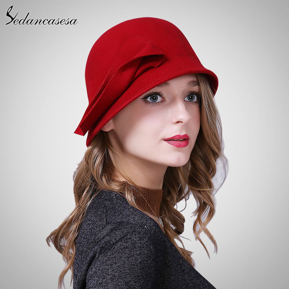 6d23c57d432 Autumn Winter Hat Female England Wool Felt Hat Retro Cloche Hats Hot  selling Warm Bucket Hats for women FW209001 Great