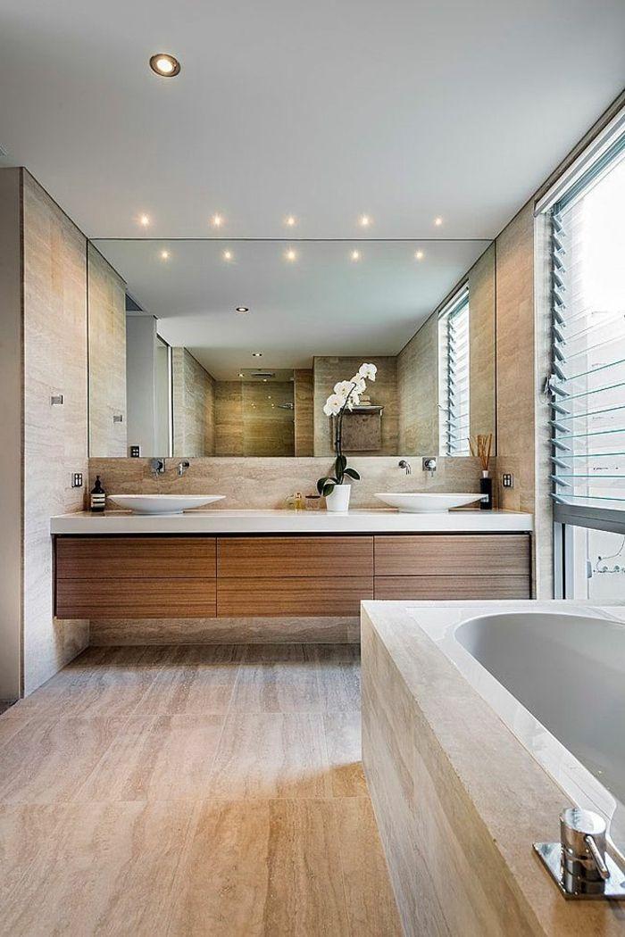Wundersch ne waschtischplatte aus massivholz und moderne badewanne badezimmer pinterest - Badgestaltung mit pflanzen ...