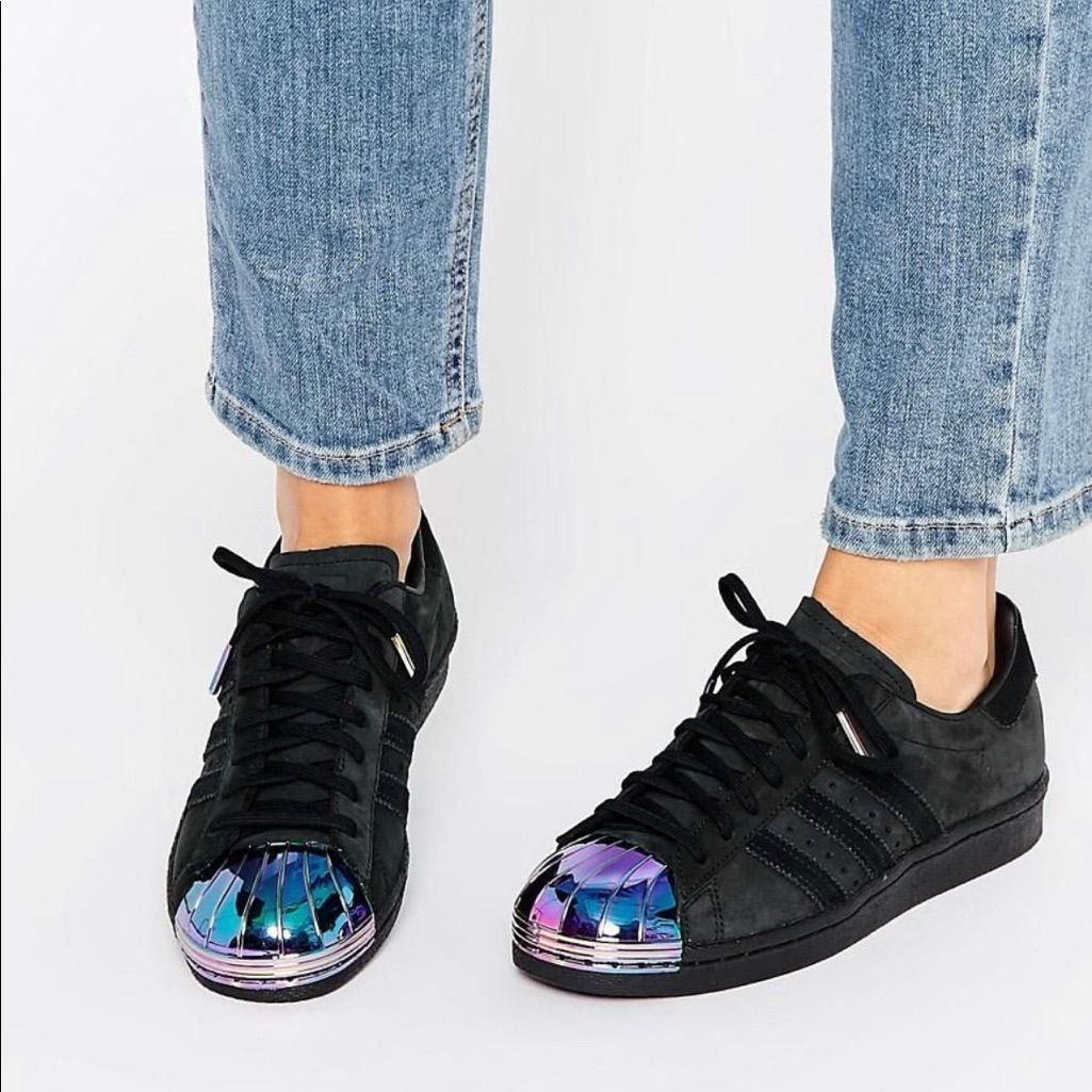 adidas superstar black and holographic