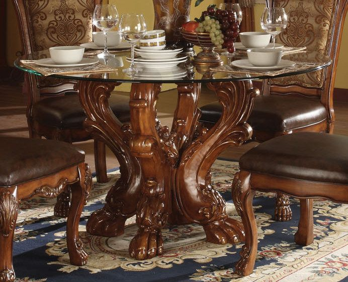 Acme Dresden Round Dining Table In Cherry 60010 Dining Table