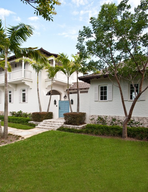 French Carribean Twist To A New Coral Gables Fl Home Mackle Construction White Stucco House Caribbean Homes Architectural Details Exterior