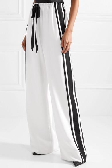 Grosgrain-trimmed Velvet Wide-leg Pants - Black Naeem Khan W8dazqg