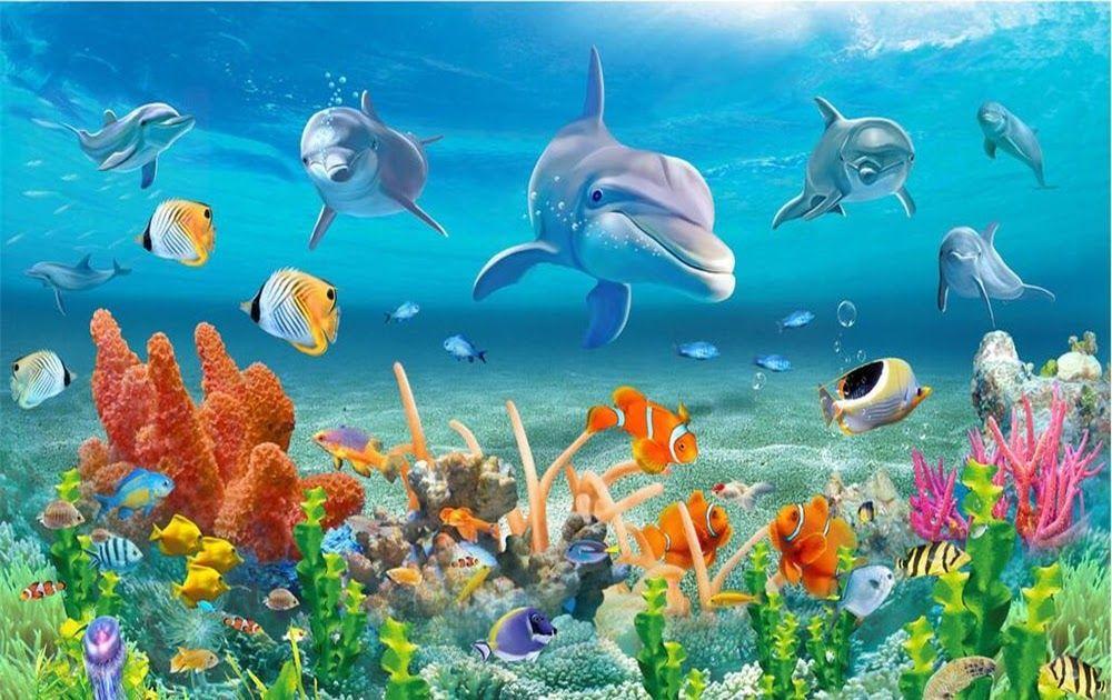 16 Pemandangan Dalam Laut Foto Us 8 85 41 Off Beibehang Besar Wallpaper Kustom Dunia Bawah Laut Dolphin Coral Reef Pemandangan Laut Di 2020 Mural Pemandangan Lautan