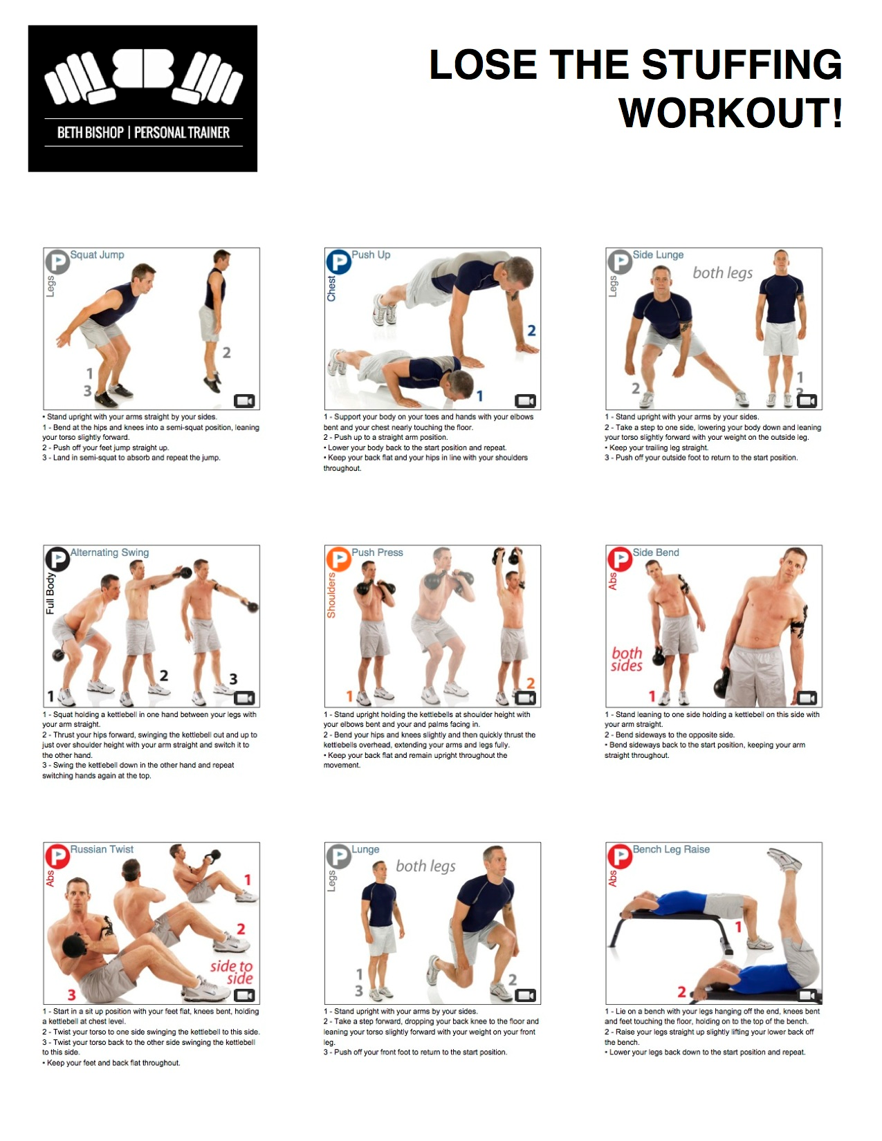 Printable Kettlebell Workouts For Men Featuring Squat Jump Push Up Side Lunge Alternating Swing Press Bend Russian Twistlunge