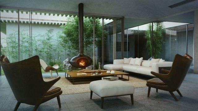 Wohnzimmer japanischer Stil Sessel Sofa weiß Glaswand Schiebetüren - wohnzimmer mit glaswnde