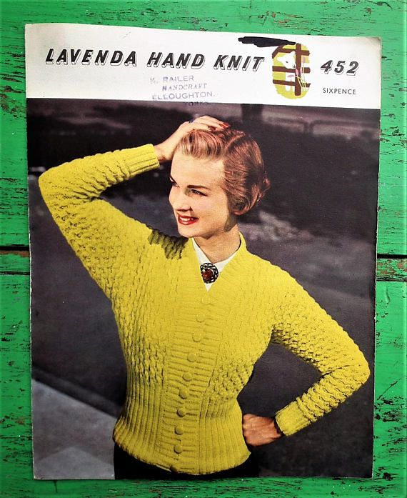 Vintage 1950s Knitting Pattern Women\'s Cardigan 50s original colour ...