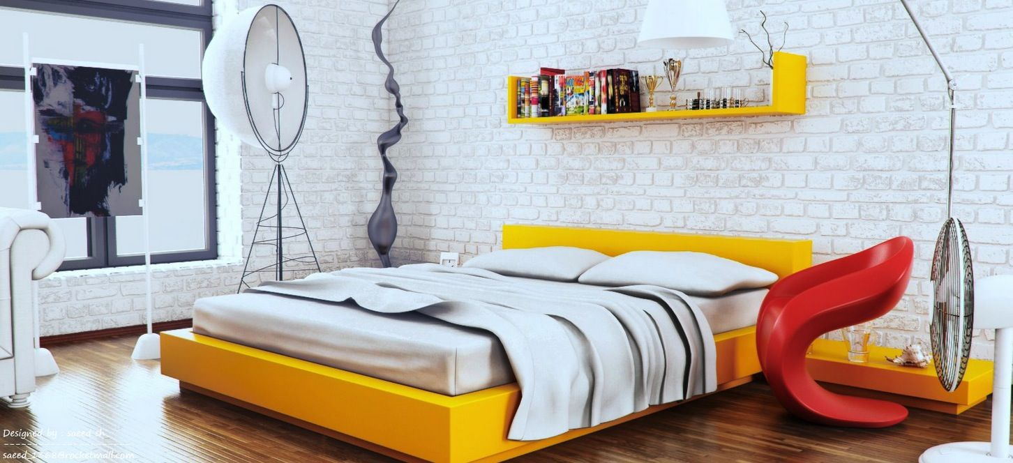 Good Yellow And Red Bedroom Decorating Ideas Part - 7: Yellow White Red Modern Bedroom | By Sayeed Sh