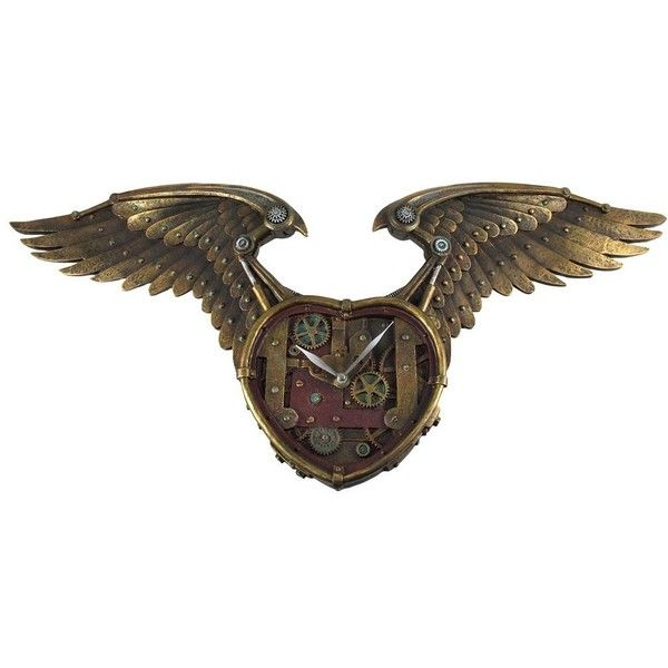 Steampunk Winged Heart Clock Statue 265 Inches L Toy 70