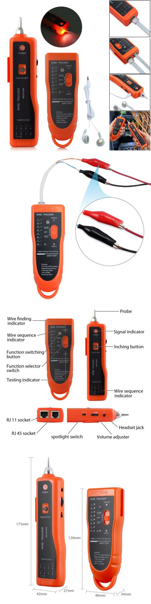 Phone Telephone Network Wire Line Lan Cable Guage Rj Tracker Toner Tracer Tester 5060492196518 Ebay Cable Toner Tracker