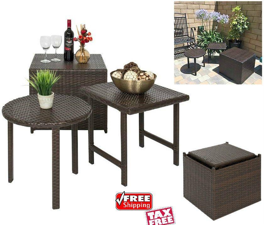 3 Piece Patio Nesting Table Set Garden Pool Porch Ottoman Wicker Side End  Tables #3PiecePatioNestingTableSetBCP