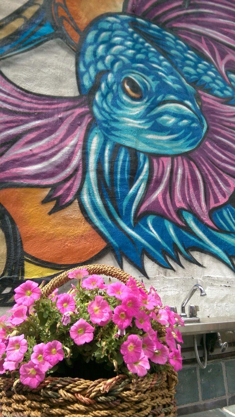 Mural in Falansai Vietnamese Kitchen Garden in Bushwick Brooklyn NYC ...