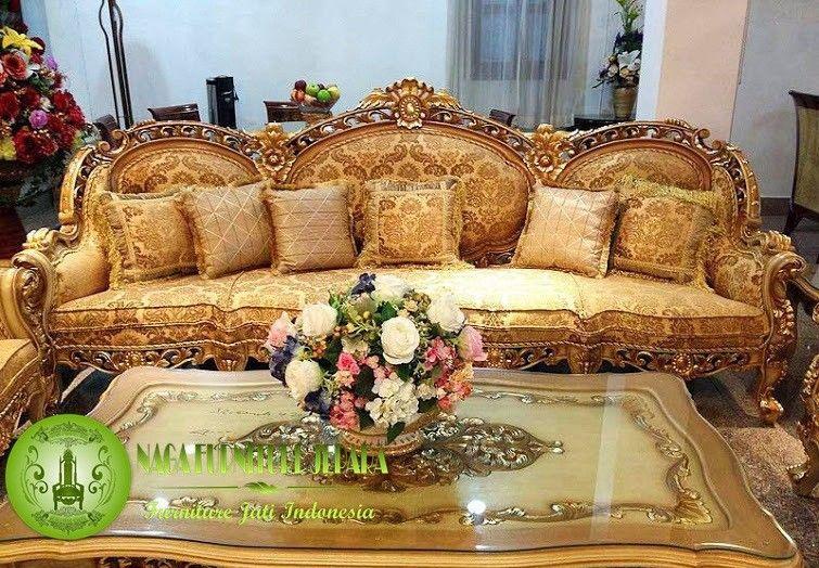 set kursi sofa tamu mewah modern warna emas gold Kursi