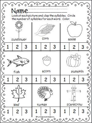Fall Thanksgiving Syllables Practice Page | Syllable, Fun activities ...