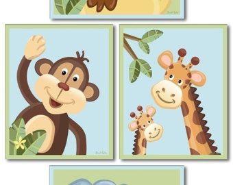 Jungle Animals Nursery Art Prints Set Of 4 Safari Wall Print For Kids Baby Room Decor
