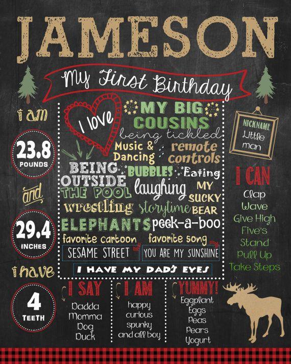 Lumberjack First Birthday Chalkboard poster by HaleyMadisonDesign