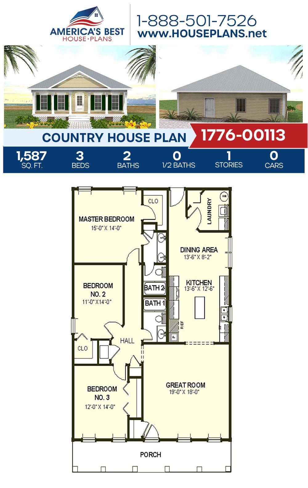 House Plan 1776 00113 Country Plan 1 587 Square Feet 3 Bedrooms 2 Bathrooms In 2020 Ranch House Floor Plans Porch House Plans Cottage House Plans