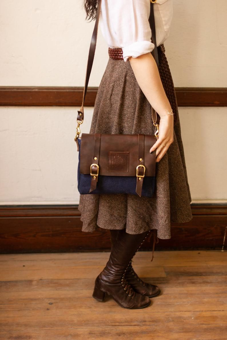navy canvas and leather messenger bag women. shoul