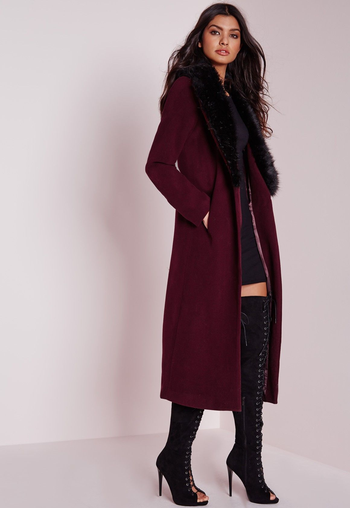 ece14315a Longline Wool Coat with Faux Fur Collar Burgundy - Coats and Jackets - Wool  Coats - Missguided