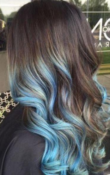 15 Breathtaking Pastel Blue Hairstyles Light Blue Hair Blue Hair Highlights Brown Hair Blue Highlights