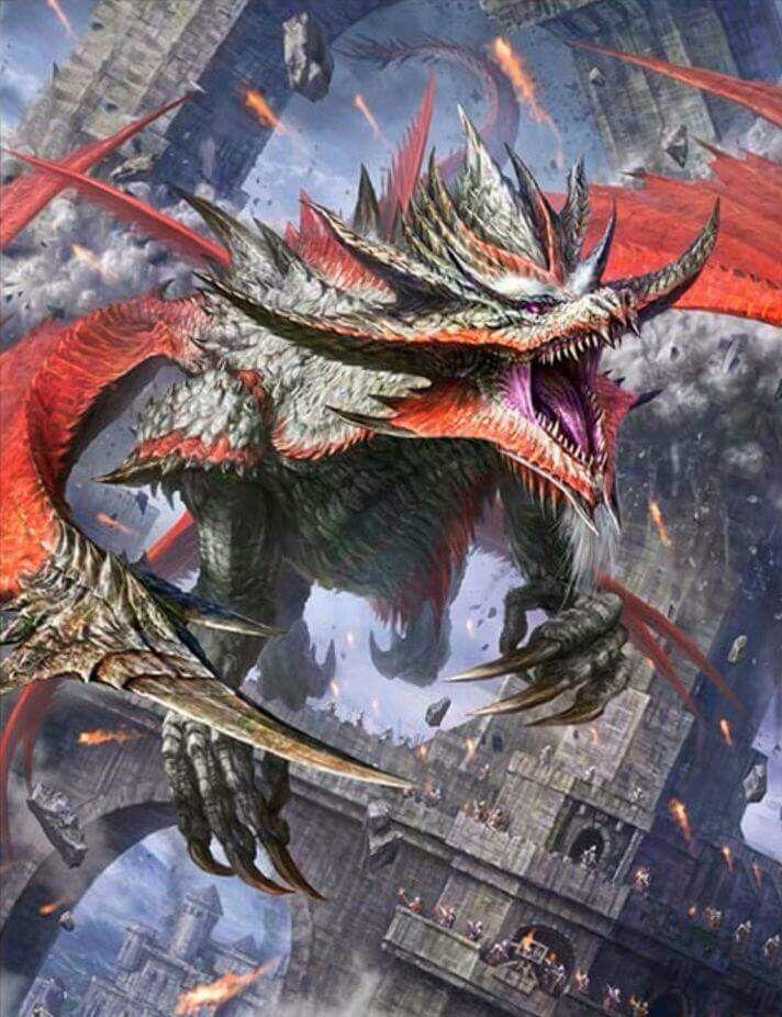 ドラゴンが要塞を壊しながら飛ぶ壁紙
