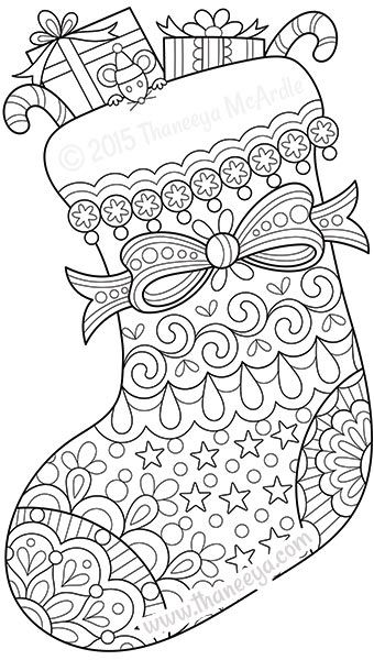 Color Christmas Stocking Coloring Page By Thaneeya Inglés