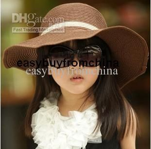 Wholesale Cute Girl Straw Sun Hat Beach Hat Wide Brim Crushable Dark Brown 54cm 3 8 Years Free Shipping 8 05 8 Girls Sun Hat Girl With Hat Baby Sun Hat Girl